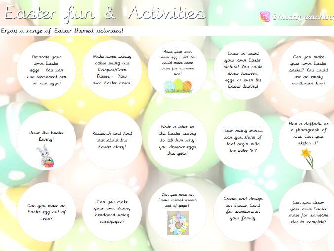 Easter Activity Grid