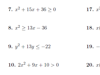 Linear, quadratic and compound inequalities Bundle