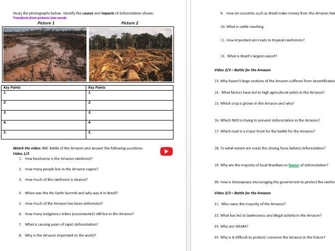 Unit 3 AQA Pre-Release Tropical Rainforest Revision Workbook 2019 (Only)