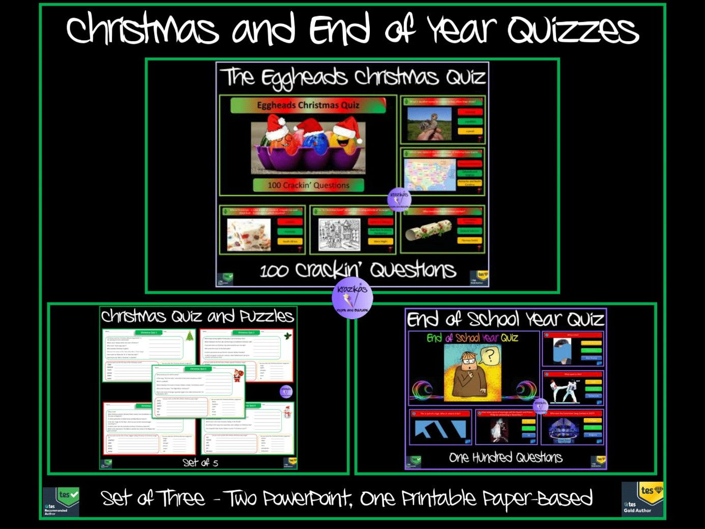 Christmas and End of Year Quizzes and Puzzles Bundle - PowerPoint and Paper Based
