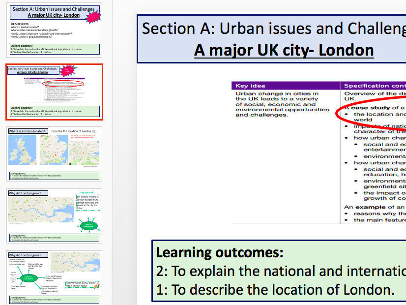 A Major UK City London (AQA 9-1 Geo)