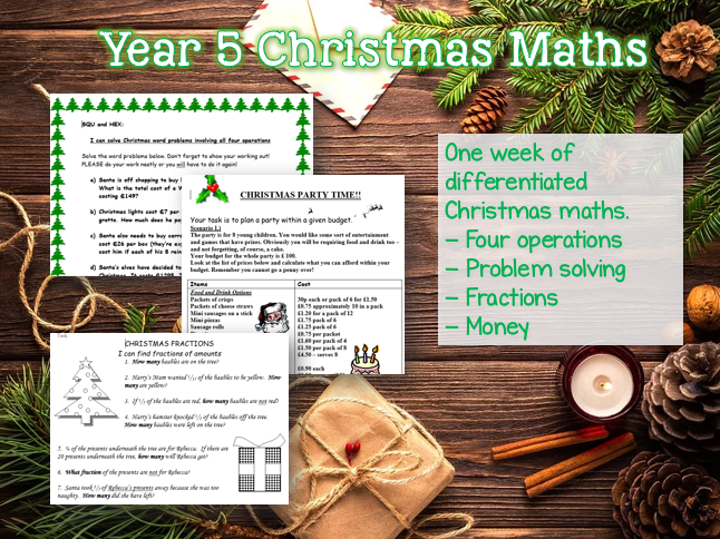 Year 4 FULL WEEK of CHRISTMAS MATHS