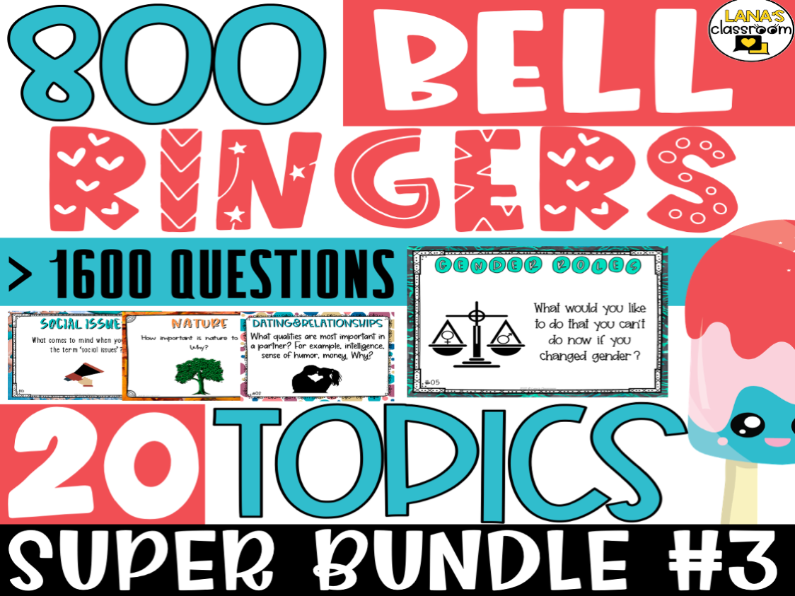 Bell Ringers Questions | SUPER BUNDLE #3 | Middle and High School