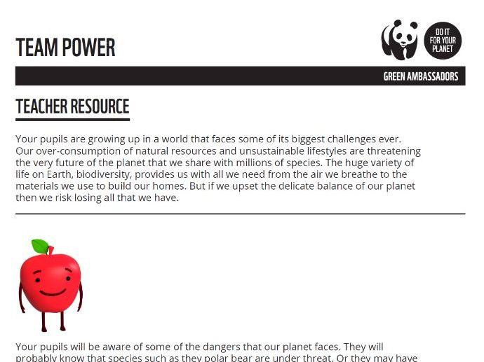 Green Ambassador Team Power Taster Resource- Teacher