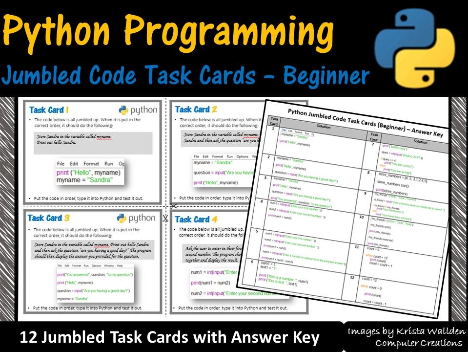 Python Programming–Jumbled Code Task Cards (Beginner) Coding Unplugged Activity