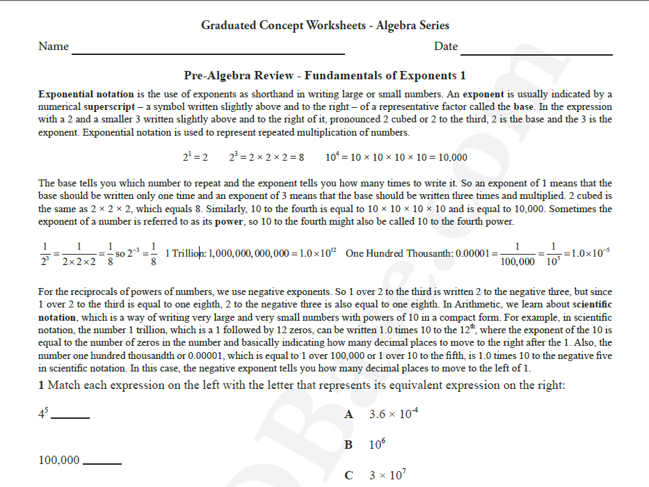 Basic Algebra Worksheet 6 – Pre-Algebra Review - Fundamentals of Exponents 1