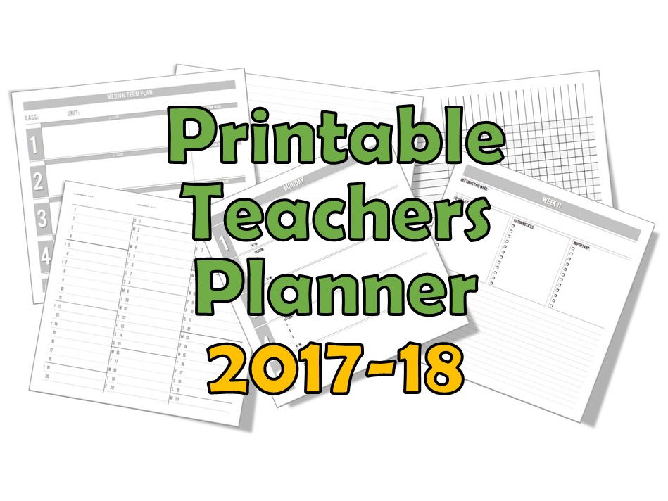 Teacher Planner 2017-18 (Printable) **UPDATED** 4/5/6/7/8 Lessons-per-day