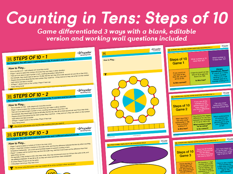 Counting in Tens: Steps of 10 (Differentiated)