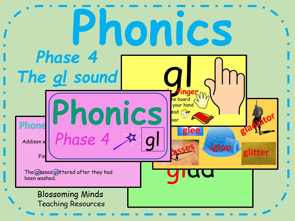 Phonics phase 4 - Consonant blends - The 'gl' sound