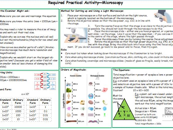 Microscopy Required Practical Knowledge Organiser AQA 9-1 GCSE