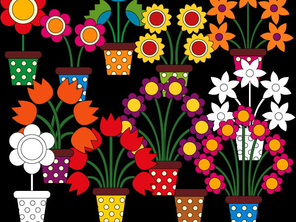 Counting flowers in pot clipart - Math clip art to teach counting
