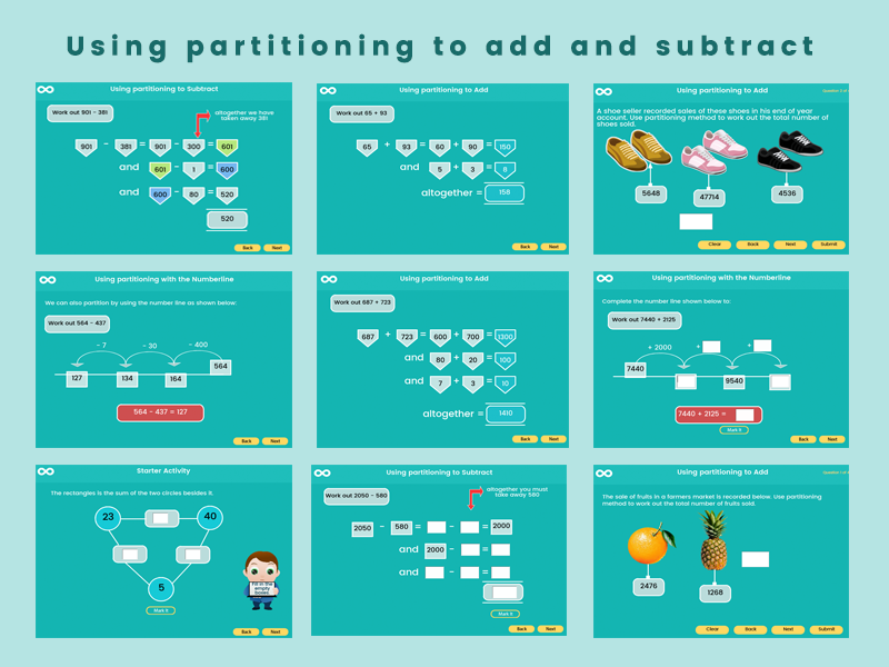 Using partitioning to add and subtract - Year 5 and 6 (US 4th - 5th Grades)