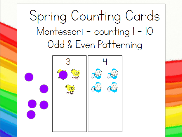 Montessori Spring Counting Cards