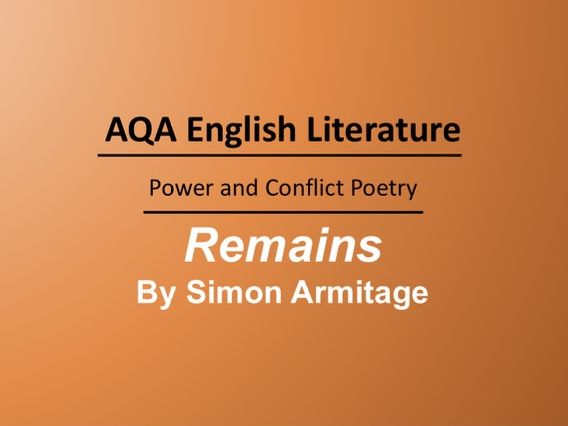 Remains by Simon Armitage Lesson