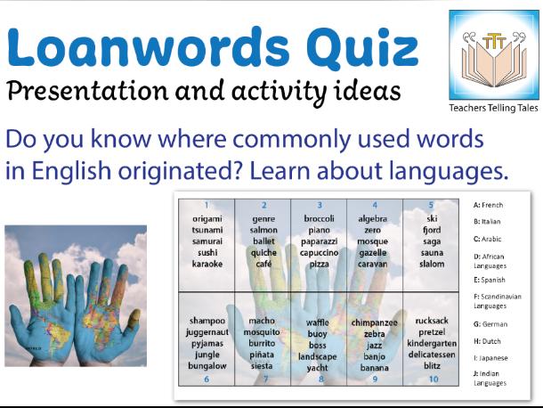Loanwords, language quiz & activity ideas