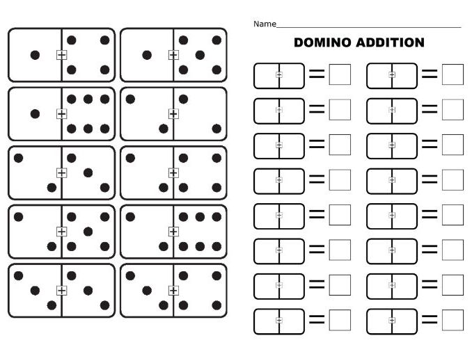 basic addition using dominoes full set 0 0 to 12 12 with symbol and associated worksheet by. Black Bedroom Furniture Sets. Home Design Ideas