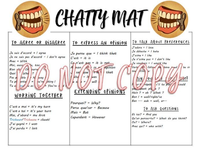 French Classroom Chatty Mat
