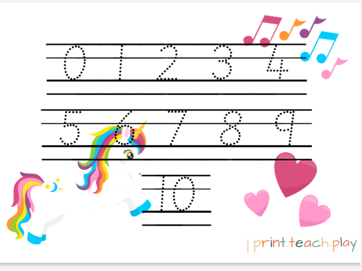 Number Pack - Unicorn & Rainbows