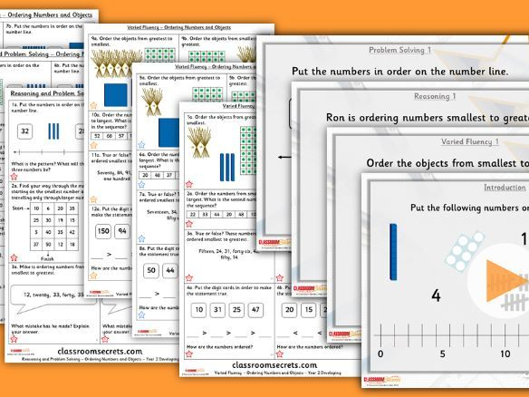Year 2 Ordering Numbers and Objects Autumn Block 1 Step 8 Lesson Pack