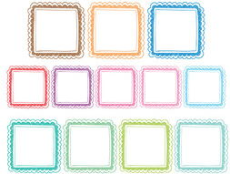 Doodle Square Frames, Frames for All Resources, Scalloped Square Frames