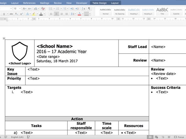 Coaching, planning and analysis document templates. Middle and senior leaders.