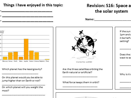 Revision sheet for KS3 Solar system topic