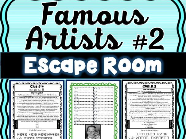 Famous Artists ESCAPE ROOM #2: Michelangelo, Degas, Dali, Warhol - Print & Go!
