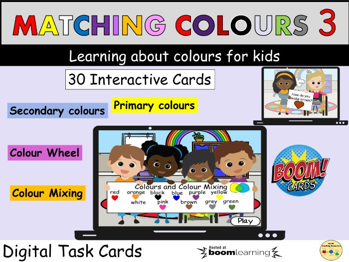 Colours Matching Mixing Colour Wheel BOOM Cards ™ Distance Learning