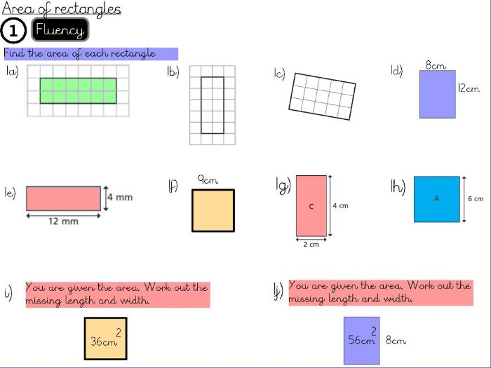 Perimeter and Area- Areas of rectangles - Year 5