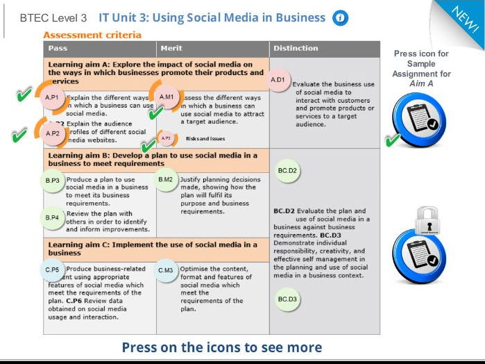 4 detailed lessons 1 full Assignment BTEC Level 3 IT, Unit 3 Using Social Media in Business