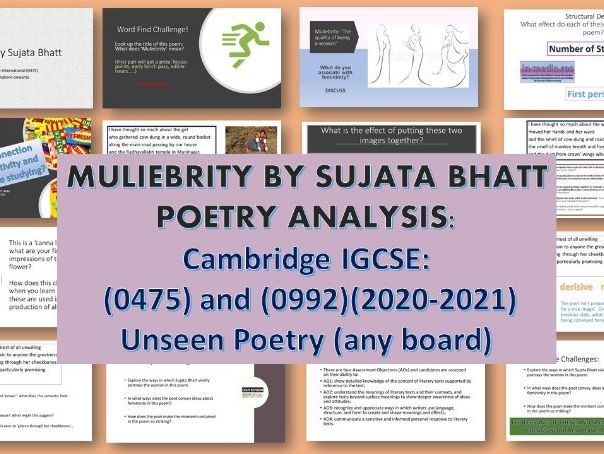 IGCSE English:  Poetry -  Muliebrity by Sujata Bhatt (0475) and (0992) 2020-2021
