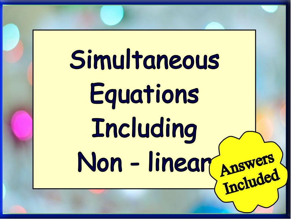 Simultaneous Equations including non- linear