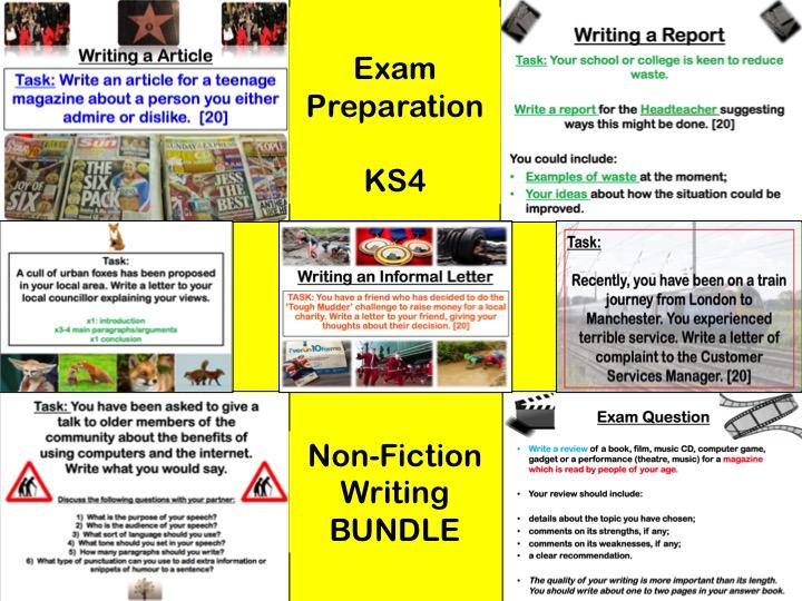 Eduqas/WJEC - EXAM PREP - Non-Fiction - Writing Tasks Bundle