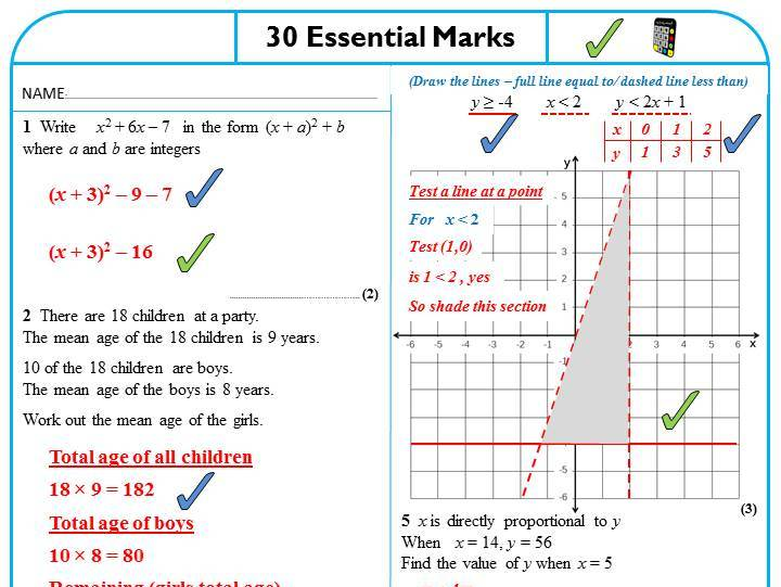 30 Essential Marks - GCSE Maths Revision - Higher Tier