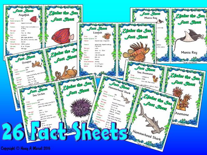 Under The Sea Animals Fact Sheets