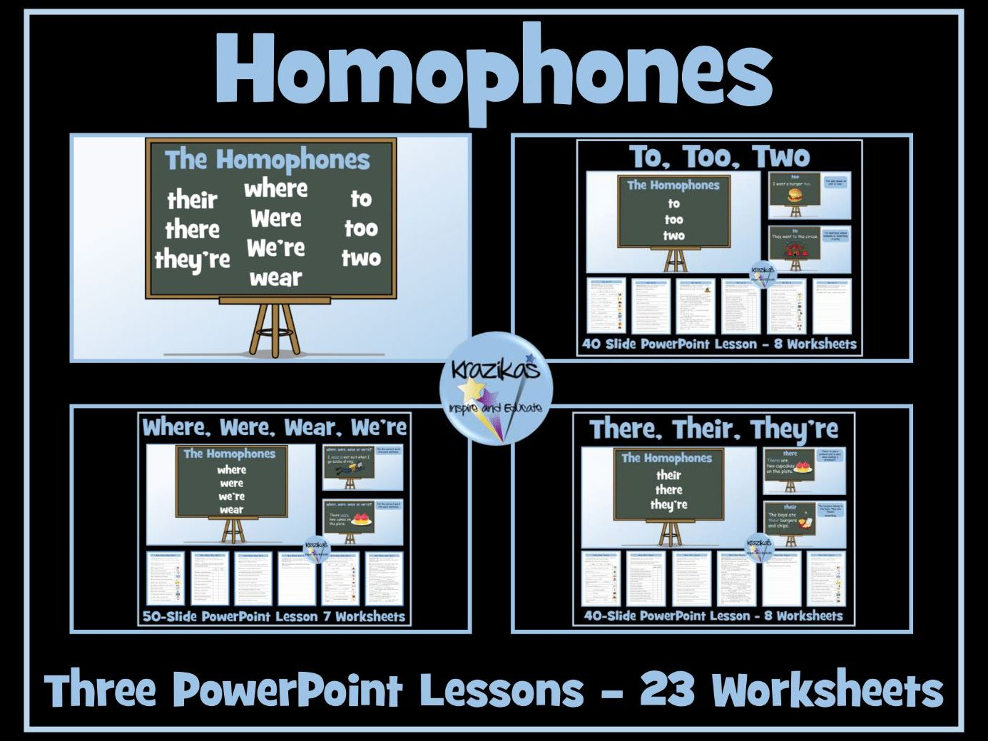 Homophones: Where, Were, Wear, There, They're, Their, Too, Two, To