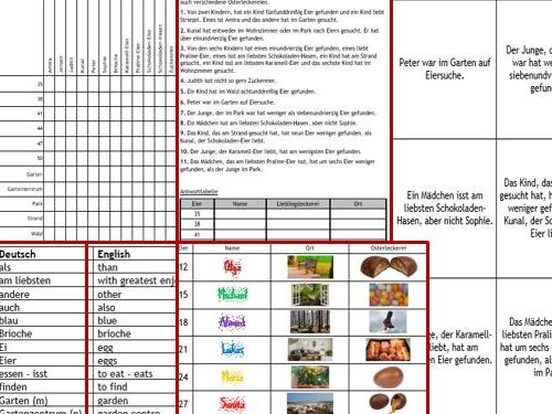 Easter Ostern German thinking skills - logic puzzle incl. foundation and higher level puzzles