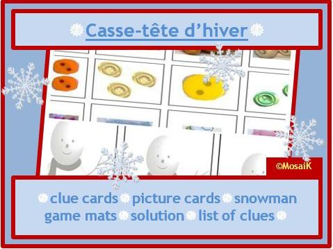 French Puzzle for Winter / Christmas: problem solving, thinking skills