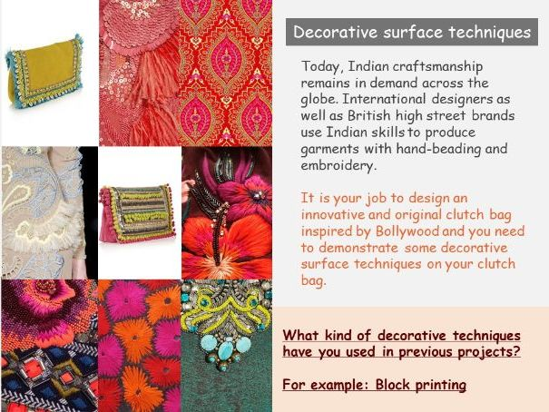 Bollywood bag Textiles project including CAD design opportunities