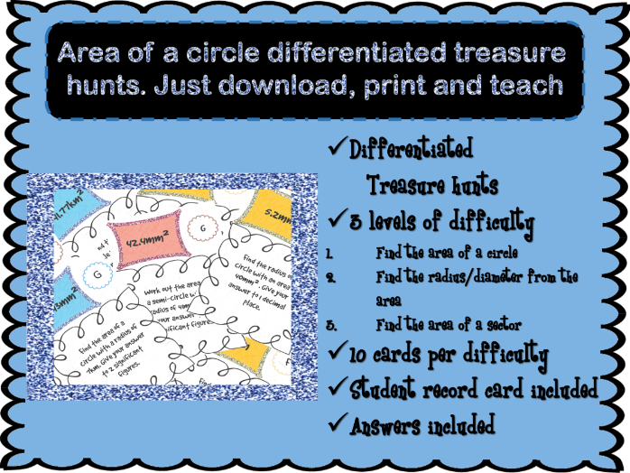 Area of a circle differentiated treasure hunt