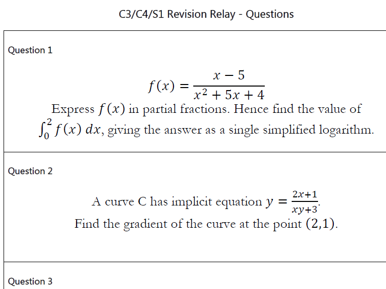 WJEC C3, C4 and S1 Revision Relay