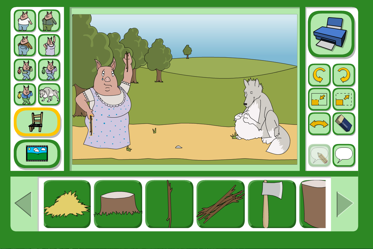 Three Little Pigs Scene Focus - Interactive Activity - KS1 Literacy