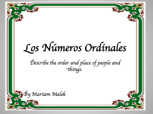 Spanish Ordinal Numbers Lesson