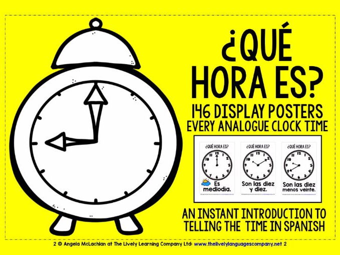 SPANISH TELLING THE TIME FLASHCARDS / POSTERS EVERY ANALOGUE CLOCK TIME IN SPANISH!
