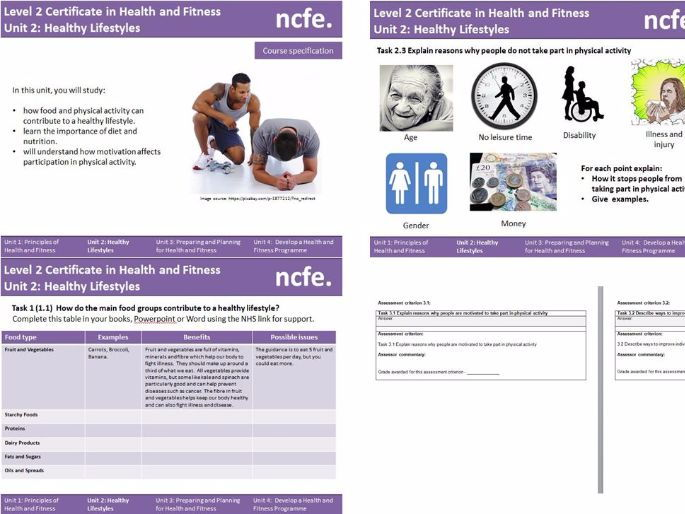 NCFE Level 2 Health and Fitness SOW - Unit 2 Healthy Lifestyles
