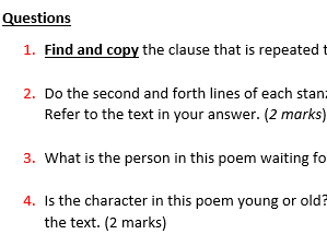 Poetry Reading Comprehensions (KS2) - Revision