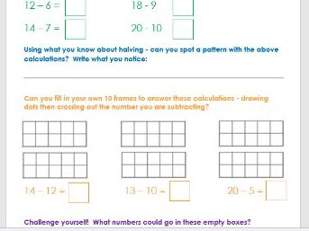 Subtraction to 20 using a 10 frame