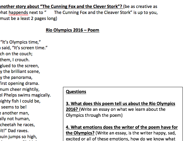 English Questions - Story and Poem followed by specific questions
