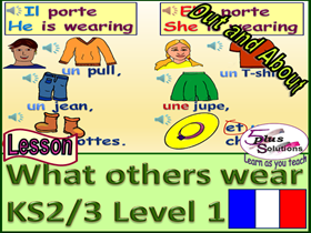 "PRIMARY FRENCH LESSON (KS2/3): Colours song; ""I/He/She wear(s)"" with clothes; colour of clothes."