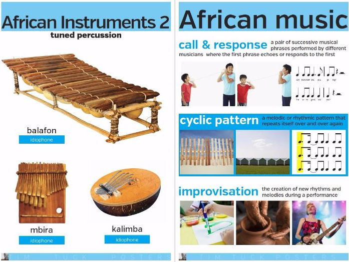 African Instruments and Cyclic Music Posters